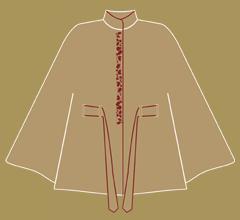 Wollpaletot - Cappuccino mit Bordeaux