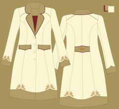Woolen coat - Ivory 2x cappuccino bordeaux