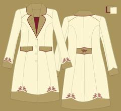 Woolen coat - Ivory cappuccino bordeaux