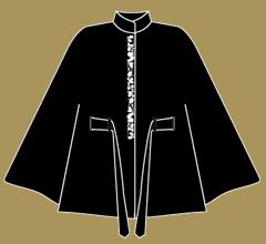 Wollpaletot - Schwarz mit Elfenbein