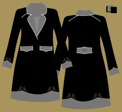 Woolen coat - black, grey, grey