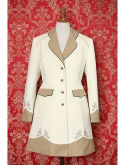 Woolen coat - Ivory 2x cappuccino green